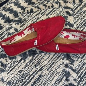 Toms Cherry Red Canvas Slip Ons | Size: 7.5